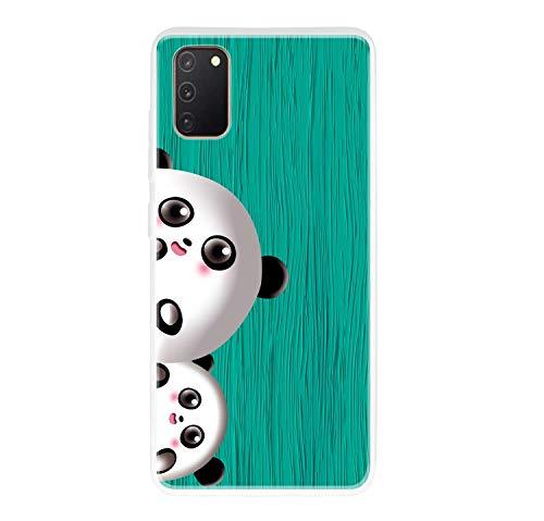 Miagon Holz Korn Hülle für Samsung Galaxy A31,Ultra Dünn Weiche Silikon Handyhülle Cover Stoßfest Schutzhülle mit Schöne Süß Panda Muster,Grün