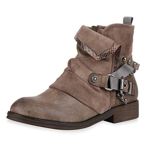 SCARPE VITA Damen Biker Boots Leicht Gefütterte Stiefeletten Snake Prints Leder-Optik Schuhe Schnallen Nieten Bikerstiefel 186525 Khaki 39