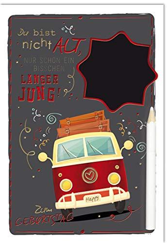 Geburtstagskarte - Geburtstag Karte - coole Geburtstagskarten - mit Tafelfolie zum individuellen beschriften - 17,0 x 11,5 cm - inkl. Umschlag - Motiv: Bulli