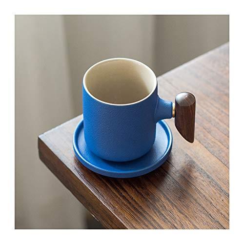 SHUNFAYOUXIANGS Taza para café, té Copas de Espresso con platillos Tazas de café Porcelana con Mango de diseño de Madera, Taza de café de 5.4 oz y platillo, Azul Taza de Bebidas Calientes