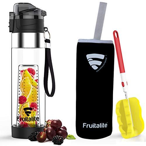 Fruitalite Fruit Infuser Water Bottle- 700 ml, Unique Bottom Loading Tritan Infusion Rod (Black)