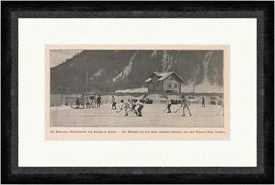 Kunstdruck Eishockey-Meisterschaft von Europa in Davos Sport Winter Schnee F_Vintage 00557
