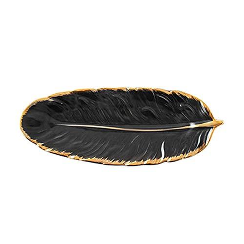 Baoblaze Luxus Schmuck Gericht Tablett Schmuckstück Gericht Tablett Keramik Tablett Blatt Form Obst Kuchen Ring Halter Platte für Ring Kosmetische Hause - Schwarz L