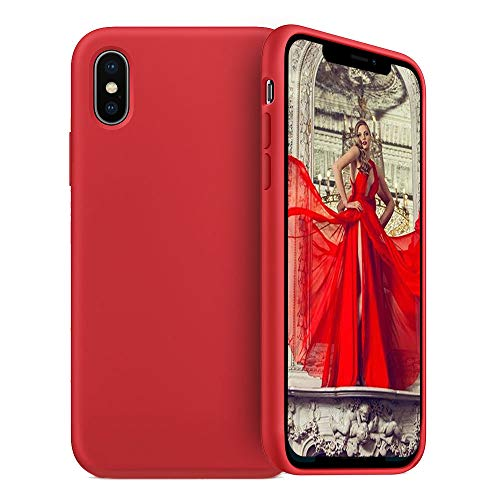 JAZ iPhone Xs Max Case Liquid Silicone Gel Rubber Ultra Slim Shockproof Case Cover with Soft Microfiber Cloth Lining Cushion Compatible iPhone Xs Max 6.5 inch (2018) (Orange Red, XS Max 6.5)