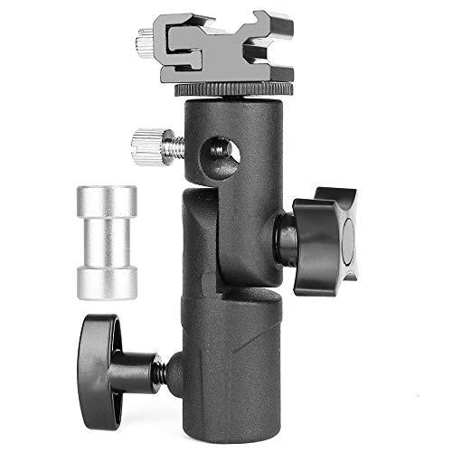 Supporto Staffa Tipo E Universale Professionale Orientabile per Camera Flash Speedlite Stativo con Foro di Montaggio per Ombrello,per Flash Canon Nikon Pentax Olympus Luci LED da Studio