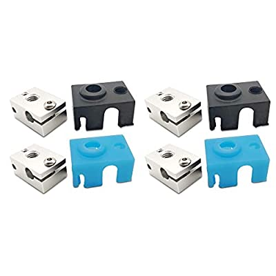 [Pack of 4set] E3D V6 Extruder Aluminum Heater Block with Silicone Cover Sock (2black&2blue) for V6 J-Head Hotend Extruder