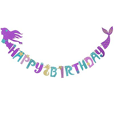 Amazon - Save 50%: Mermaid Magical Sparkle Happy Birthday Banner Favor Mermaid Theme Pa…