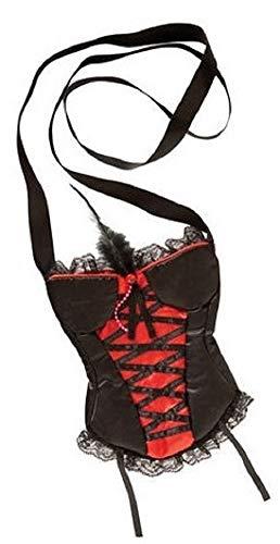 Femmes Noir/Rouge Corset en Forme de Burlesque Charleston Halloween Gothique Mini Sac Accessoire Déguisement