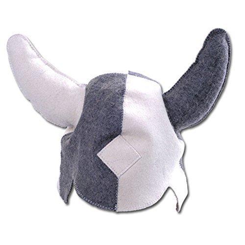 GMMH® sauna hoed 'Viking' (1514), wit/grijs, sauna muts saunakap vilt kap vilt hoed van 100% vilt hoed kap voor sauna