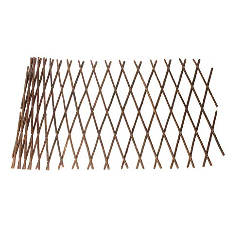POHOVE Gitter Weidenzaun Gartenzaun erweiterbar Spalier Zaun Holz Spalier Einziehbarer Gartenzaun Weidenholz Zugnetz für Kletterpflanzen, keine Blätter