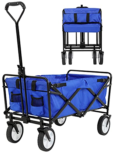 Collapsible Wagon Heavy Duty Folding Wagon Cart Utility Cart Outdoor Beach Wagon with Big Wheels for Sand, Garden Cart Grocery Wagon with All-Terrain Swivel Wheels & Adjustable Handle, Blue