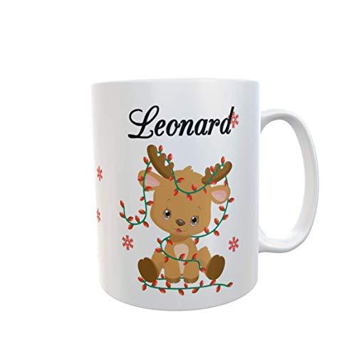 Tasse mit Namen Rentier mit zweigen Weihnachtstasse Wunschname