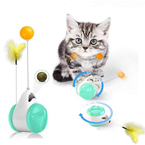 Luckybrosis Juguete Interactivo con Hierba Gatera para Gatos Juguete para Gatos para Interiores Juguete para Gatos con Equilibrio Multifunción con Pluma Y Bola (Azul)