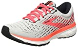 Brooks Womens Ghost 13 Running Shoe - Grey/Fiery Coral/White - B - 6.5