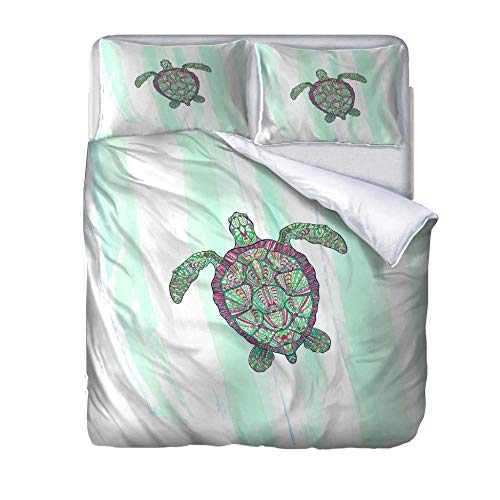 UWKDEK Super Double Duvet Cover Set tortoise Quilt Cover Bedding SetWithHidden Zipper Microfiber Bedding Quilt CoverWith 2 Pillowcases for A Family Kids Teens Adults,260cmWx220cmH