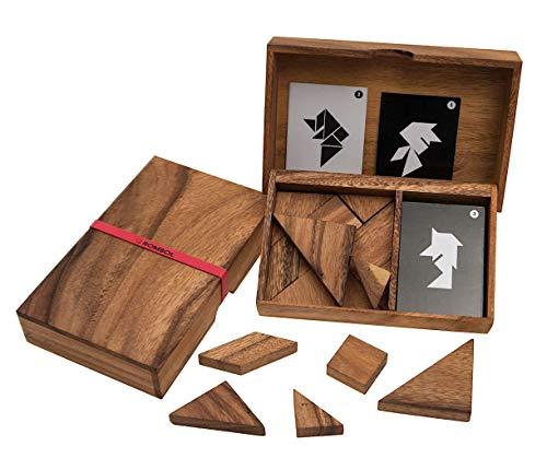 ROMBOL Tangram, das älteste Legespiel der Welt, Doppeltangram, Tangram für 2 Personen, Holz, Legespiel, Holzspiel, Denkspiel, Knobelspiel, Geduldspiel aus Holz