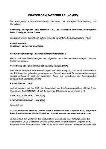 40 Stück – denkturm® FFP2 Maske, Atemschutzmaske, CE Zertifikat CE2834, geprüft EN149:2001+A1:2009 FFP2 NR - 9
