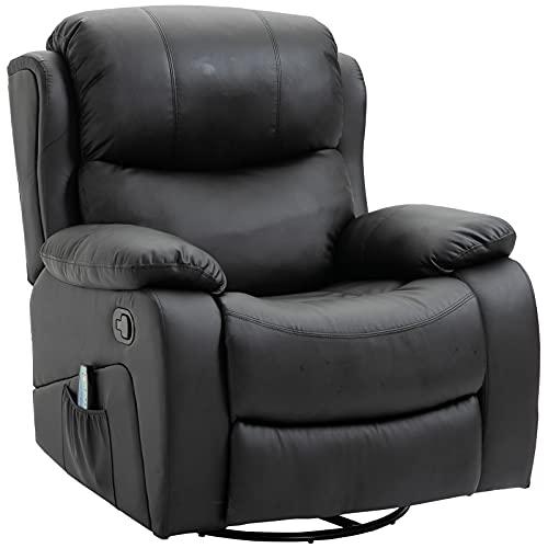 HOMCOM Poltrona Relax Massaggiante Riscaldante Reclinabile Ecopelle 94 × 103 × 100cm...