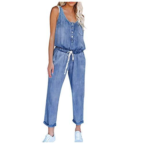 1111 Tute per le Donne V Neck Strap Playsuits Baggy Tuta Salopette con Tasche Sexy Cerniera Denim Casual Un Pezzo Jeans Lungo Tinta unita Dignificato Retro Streetwear Blu marino 2XL