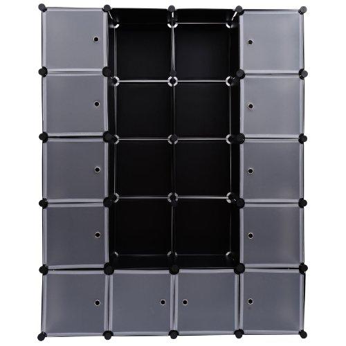 homcom 02-0336 - Armadio in plastica, Semi-Trasparente, 147 x 37 x 187 cm