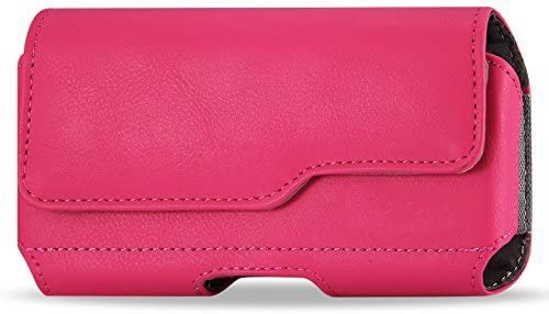 Golden Sheeps Pouch Compatible for Samsung S10 Plus/5G ,Note 9/8/5/4,S9 Plus, S8 Plus XXL Size Leather Belt Clip Pouch Cover Holster(Phone with with Bulky Case or Extended Battery case)-pink