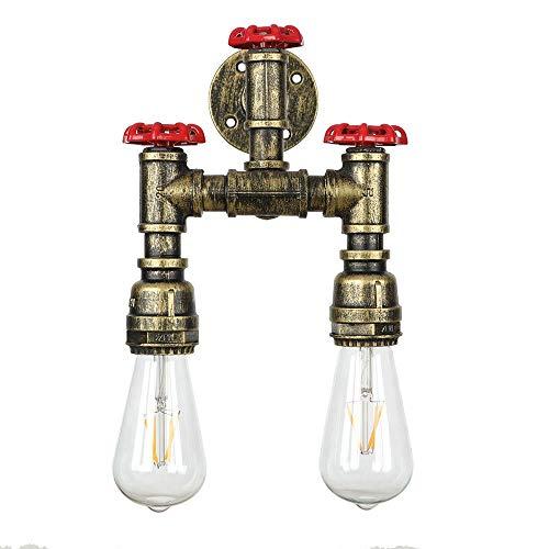 Sunny Lingt 2 Applique Rétro Design Industriel Style Simple Mode Rouge Valve Tuyau d'eau Applique Murale en Fer Lampe Art Décoration Éclairage Lampe E27