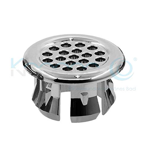 KNOPPO® Waschbecken Überlauf Abdeckung, Überlaufblende - Sieve (6 verschiedene Design Modelle) chrom