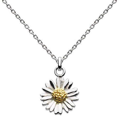 Dew Halskette, Sterlingsilber, vergoldet, Gänseblümchenanhänger, Länge 45,7 cm