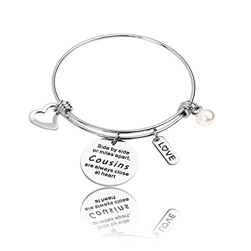 RUNXINTD Cousin Gift Cousin Bracelet Side by Side or Miles Apart,Cousins are Always Close at Heart Cousin Jewelry Gift for Cousins (Silver-Bracelet)