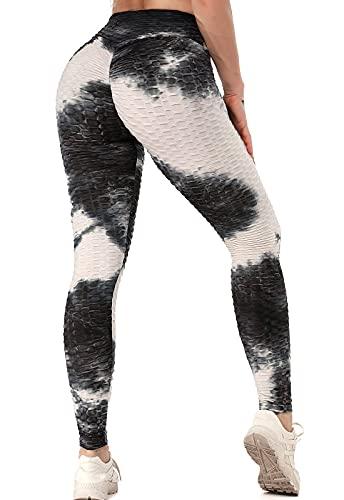 FITTOO Leggings Push Up Mujer Mallas Pantalones Deportivos Alta Cintura Elásticos Yoga Fitness Negro & Blanco M