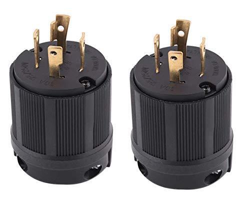 L14-30P 발전기 플러그 3 극 30 앰프 4 프롱 트위스트 록킹 남성 플러그 아웃렛 커넥터 125   250 리셉터클 산업용 등급 어댑터 4 와이어(2팩)