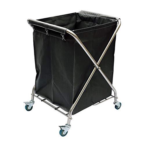Salon Trolleys Faltende X-Art Stoffbeutel-Dienstwagen, Edelstahl-Service-Reinigungsarbeitslaufkatze für Wäscherei-Hotel-Haus (Farbe : Deep Gray)