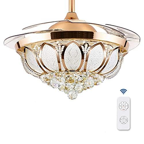 JKYP Ventilador de techo con luz y mando a distancia Ventilador de techo, sala de estar, comedor, dormitorio, hogar, ambiente minimalista, ventilador cargado (oro, plata) (Color: Plata)
