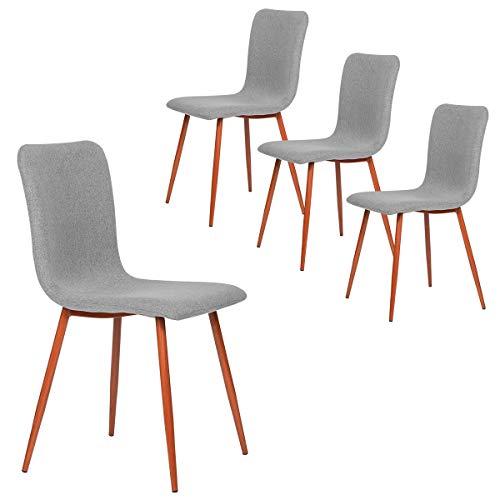 Coavas Sedie da Pranzo Set di 4 sedie da Cucina in Tessuto con robuste Gambe in Metallo per Sala da Pranzo, Grigio