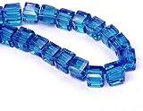 Böhmische Kristallperlen 4mm und 6mm Set Würfel Facettiert Tschechische Perlen Glasschliffperlen Zwischenperlen, Glasperlen Druckperlen, Farbauswahl (Blau Zirkon, 4x4x4 mm 25 Stück)