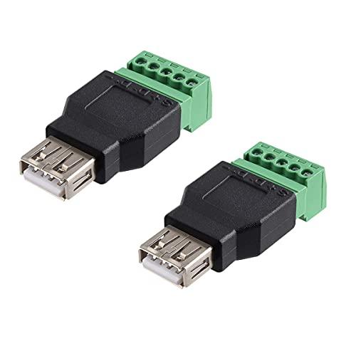 Conector terminal USB de 2 piezas, conector de enchufe hembra USB 2.0 A a terminales de tornillo hembra de 5 pines, adaptador tipo plug-in, sin necesidad de soldadura