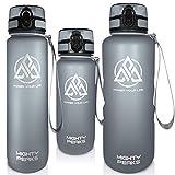 MIGHTY PEAKS Tritan Sport-Trinkflasche 1,5 Liter - Fruchteinsatz, Fruchtsieb Trink-Flasche mit Früchtebehälter-BPA frei - 500ml 650ml 1l 1500ml 1,5l 1.5l 1.5 Liter Grau - Wasserflasche 1,5 Liter