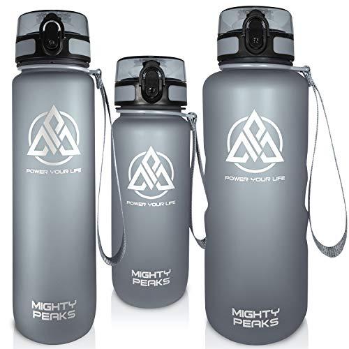 MIGHTY PEAKS Tritan Sport-Trinkflasche 1l BPA frei, Wasserflasche 1liter, Grey, Grau, Trinkflasche Kinder, Plastik-Flasche 1l, Sportflasche für Fahrrad, Fitness, Fussball, Kinder, Sport