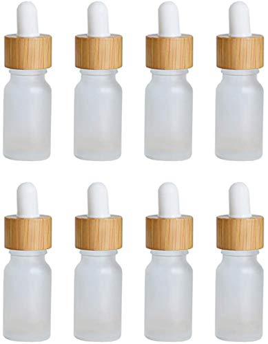 Multifunctional Cabilock 8pcs Botellas de gotero de cristal de bambú 5 ml Aceite esencial recargable Propietario Mini perfume Botellas de muestra Frosted Vidrio Viales Recipiente cosmético