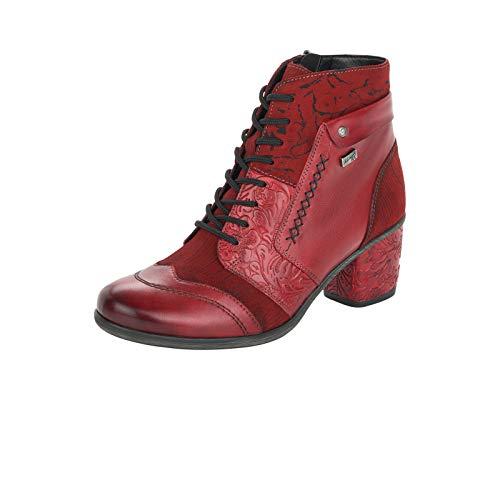 Remonte Damen Stiefeletten, Frauen Schnürstiefelette,remonteTEX, Stiefel Kurzstiefel schnür-Boot,Rot(mohn),39 EU / 6 UK