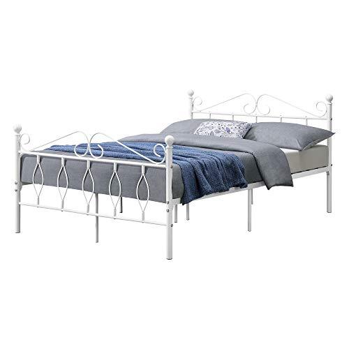 [en.casa] Metallbett 140x200 cm Doppelbett mit Kopf-und Fußteil Bettgestell Gästebett Metallgestell mit Lattenrost bis 300kg Weiß