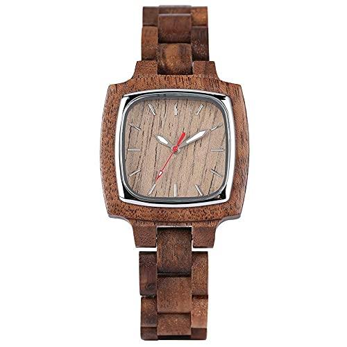 HYLX Reloj de Madera de Moda Informal para niña, Relojes de Madera de diseño marrón Simple para Hombres, Relojes de Madera de Cuarzo clásicos para Adolescentes