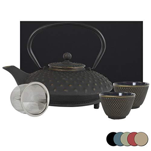 theebloem | gietijzeren theepot kambin set | gietijzeren theepot met zeef | incl. onderzetter, 2 qua kleur bij de pot passende bekers & geschenkdoos | volledig geëmailleerd binnenkant | kleurkeuze