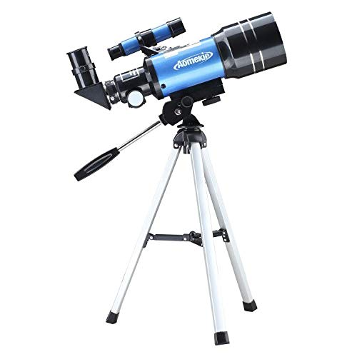 Aomekie Telescopio para Niños Principiante 70/300 Astronomico Refractor con Trípode Adaptador para...