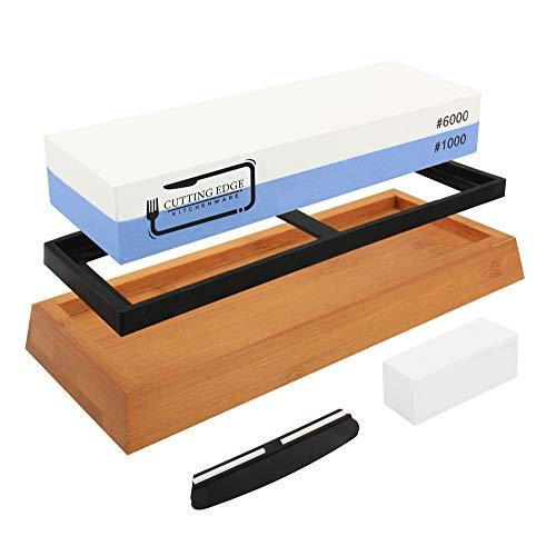 Whetstone Knife Sharpener 1000/6000 - Premium Chef Knife Sharpening Stone, 2 Side Grit for Refining Razor Sharp Kitchen, Hunting, Pocket Knives, Blades - Non-Slip Bamboo Base and Angle Guide