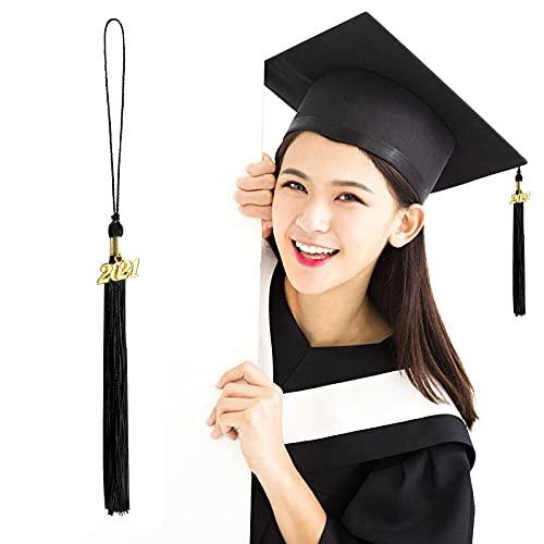 Borlas de graduación,8 borlas de Gorra graduación Accesorios de Gorra graduación académica con Colgante Dorado de 2021 años borlas graduación para Ceremonias de graduación Fiestas Accesorios (Black)