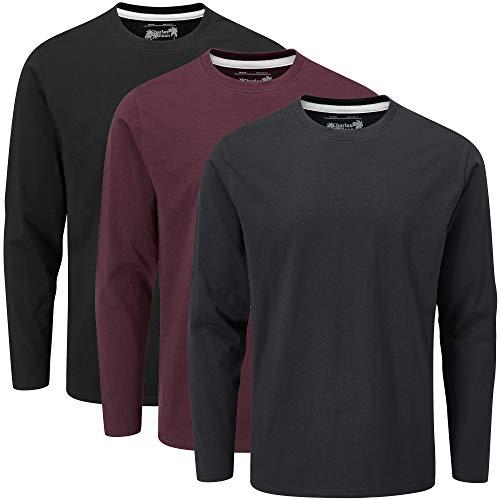 Charles Wilson T-Shirt Girocollo Semplice a Maniche Lunghe in Confezione da 3 (L, Essentials (1020))