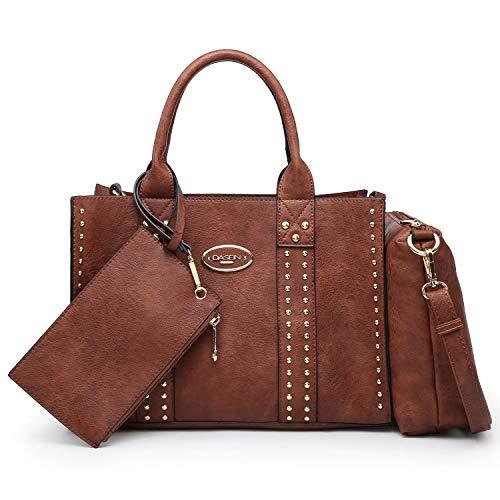 Women Vegan Leather Handbags Fashion Satchel Bags Shoulder Purses Top Handle Work Bags 3pcs Set Coffee