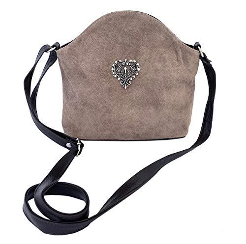 Trachtentasche Dirndltasche Umhängetasche Wildleder mit Trachten-Herz Taupe grau-braun