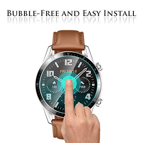 Huawei Watch GT 2 46mm Panzerglas Schutzfolie, 4 stück 2.5D Arc Edges 9H Glas Displayschutz Anti-Kratzer blasenfrei Schutzfolie mit CLAR Lebenslange Ersatzgarantie - 6